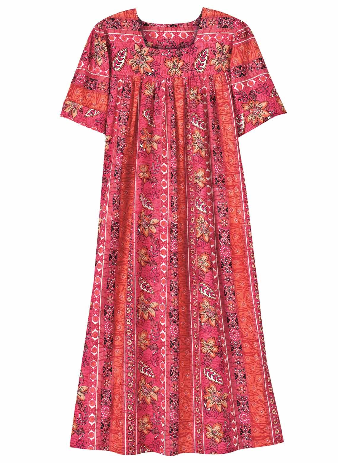 Carol Wright Gifts Flattering Batik Dress, Pink, Size Extra Large (3X)