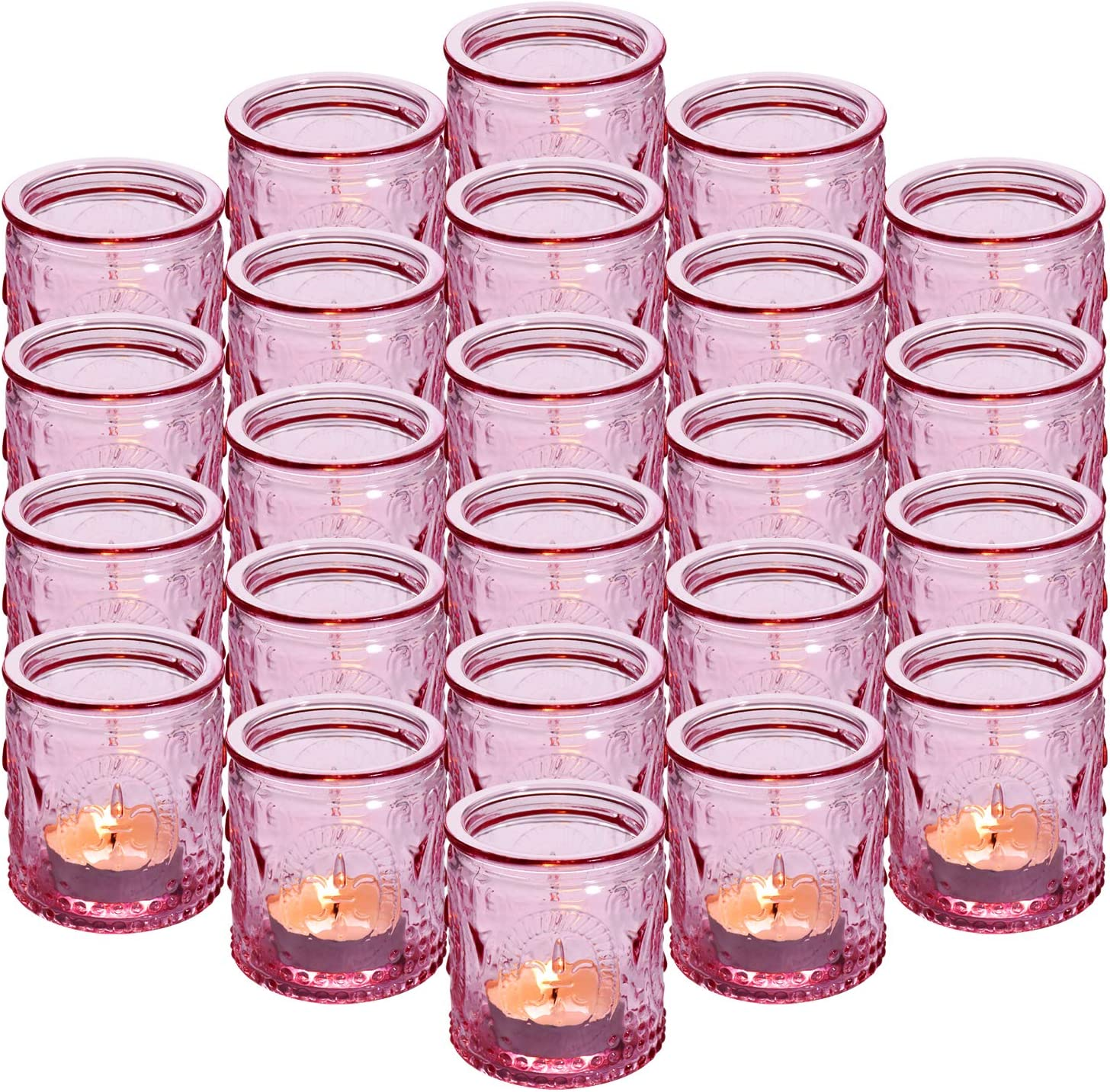 "24-Pack Glass Vintage Candle Holders Votive Candle Wax Cups Tealight Holders - Ideal for Table Centerpieces, Wedding Prom ,Party, Home Decor, 2.28""D x 2.75""H"