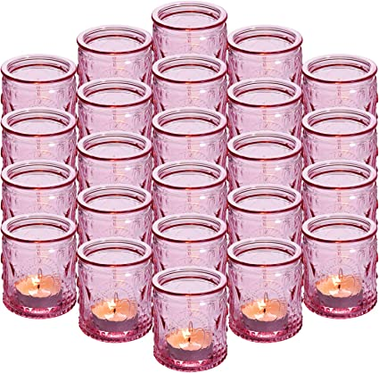 Homemade set of 6 votive candles and pink glass candle holders