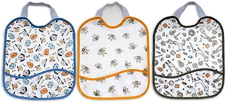TI TIN, Pack de 3 Baberos de punto algodón Impermeable. Con bolsillo. Lote 3 unidades. Cierre con goma