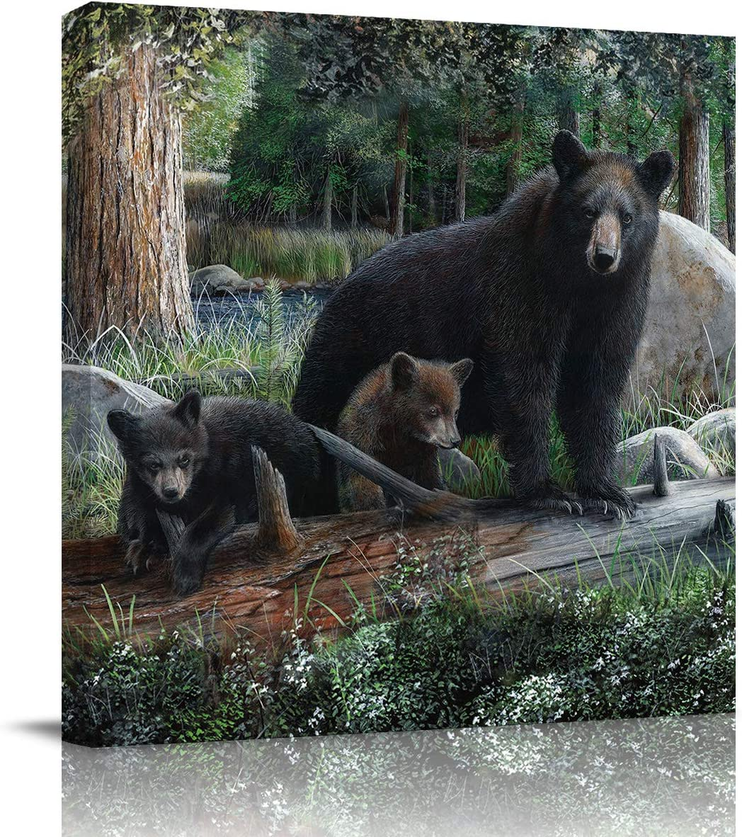 applebless Oil Painting on Canvas Rustic Black Family Bears and Cubs Wall Art Home Decor Wild Animal Forest Modern Pictures Painting for Living Room, Ready to Hang - 20x20 inches