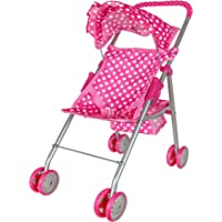 Precious Toys 0126B Pink & White Polka Dots Foldable Doll Stroller with Hood