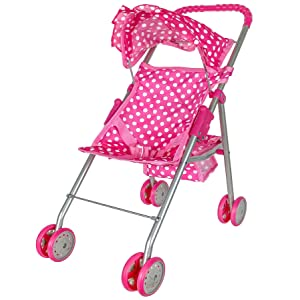 Pink and White Polka Dots Doll Stroller With Hood