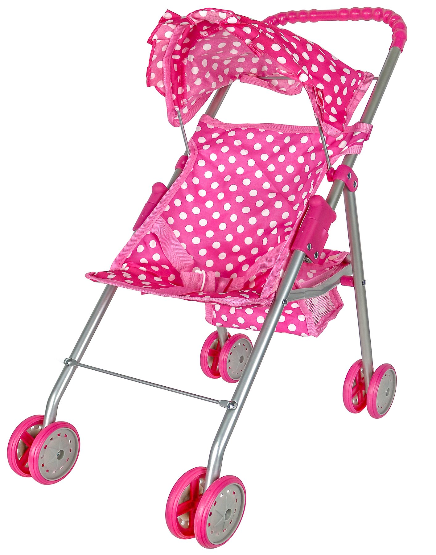 Precious Toys Pink & White Polka Dots Foldable Doll Stroller With Hood