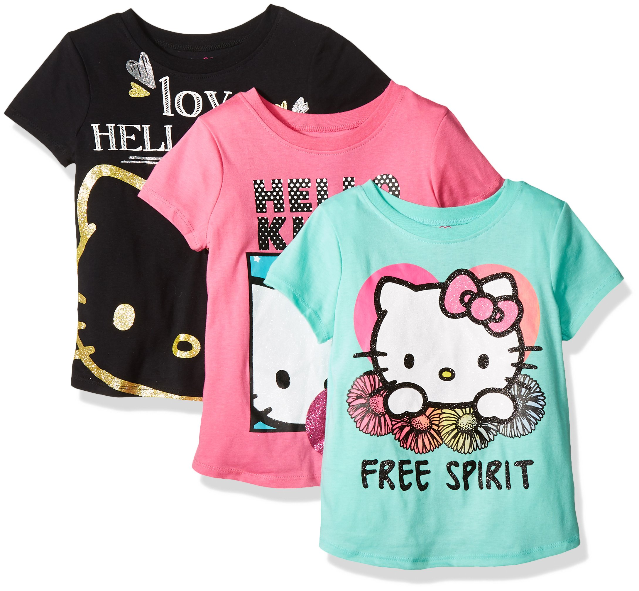 Hello Kitty Girls' Little Girls' 3 Pack T-Shirt Shirt, Multi Color Love, 4