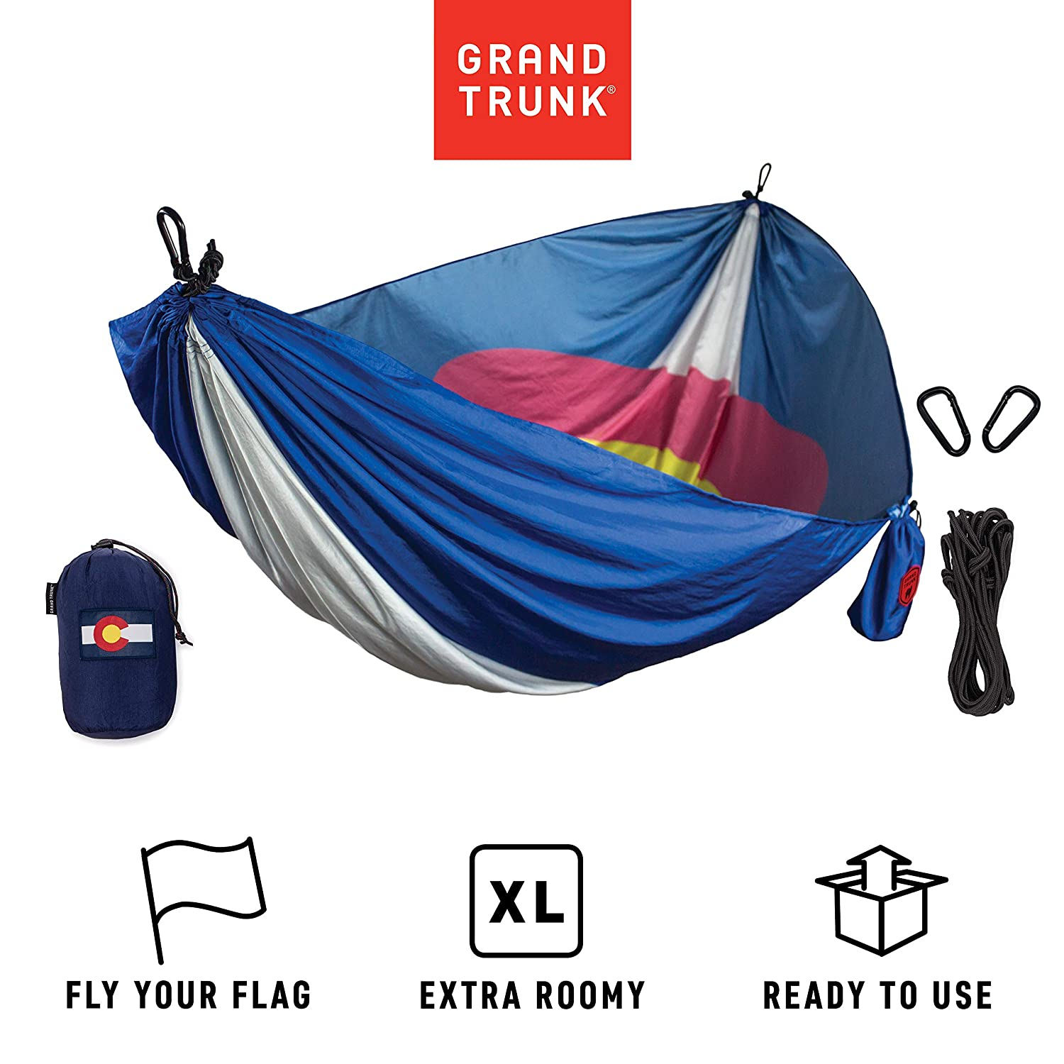 Grand Trunk Single Parachute Nylon Hammock with Carabiners and Hanging Kit – Perfect for Outdoor Adventures, Backpacking, and Festivals