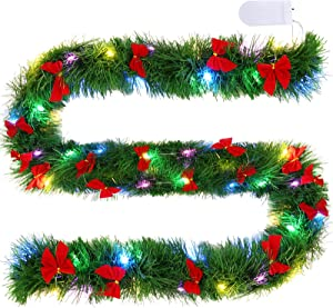 Lighted Christmas Garland 19.6 ft Christmas Tinsel Garland with 2 Pieces 60 LED String Lights and 24 Pieces Red Bows for Christmas Indoor Outdoor Garden Decor