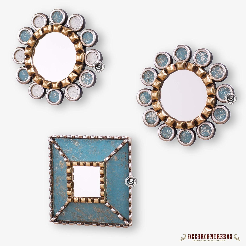 9133a8cc8b08 Amazon.com  Small Round mirror set 3 from Peru 7.8