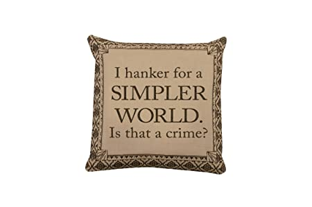 Heritage Lace Downton Abbey Downton Life Simpler World Pillow Cover, 18 by 18-Inch, Sesame Iron