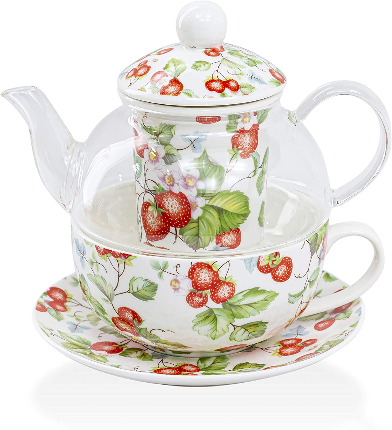 Grace Teaware 5-Piece Glass Porcelain 13-Ounce Tea For One With Infuser (Floral Strawberry Field