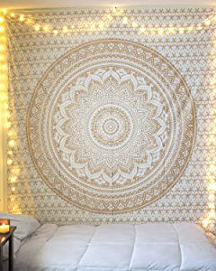 Madhu International White Gold Ombre Mandala Tapestry Hippie Cotton Tapestries Psychedelic Indian Traditional Wall Decor Tapestry Bohemian Wall Hangings Twin Size Tapestry For Living Room Dorm Decor