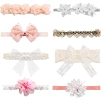 LOYALLOOK 8Pcs Baby Girls Headbands Super Stretchy Headband and Bows for Newborn Lace Petals Flower Hair Accessories Baby Girl Gift