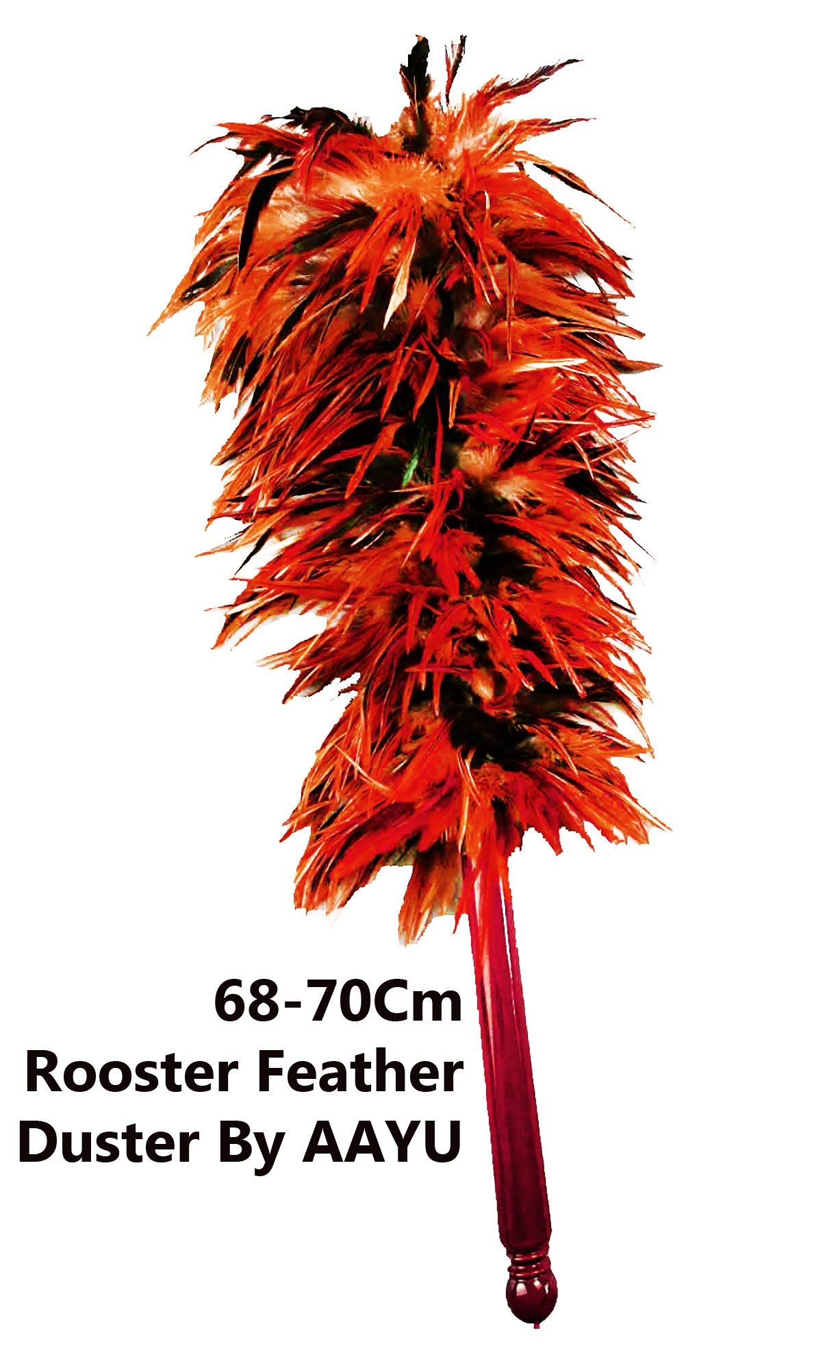 Rooster Chicken Feather Duster by AAYU   House Cleaning, Car Cleaning   Brush for Dust   Dusters to Clean Home   Feather Duster with Genuine Wooden Handle   Eco-Friendly Easy to Clean Dust   68 cm
