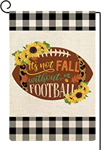 Molili Fall Garden Flag Football Sunflower Yard Flag Thanksgiving Farmhouse Rustic Autumn Holiday Small Burlap Vertical Double Sized Seasonal Outdoor House Home Decoration 12.5 x 18 Inch