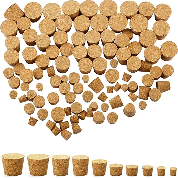 10pcs Tapered Natural Cork Bottle Stoppers Wine Corks 3 X4A4 Crafts SIZE T8J2