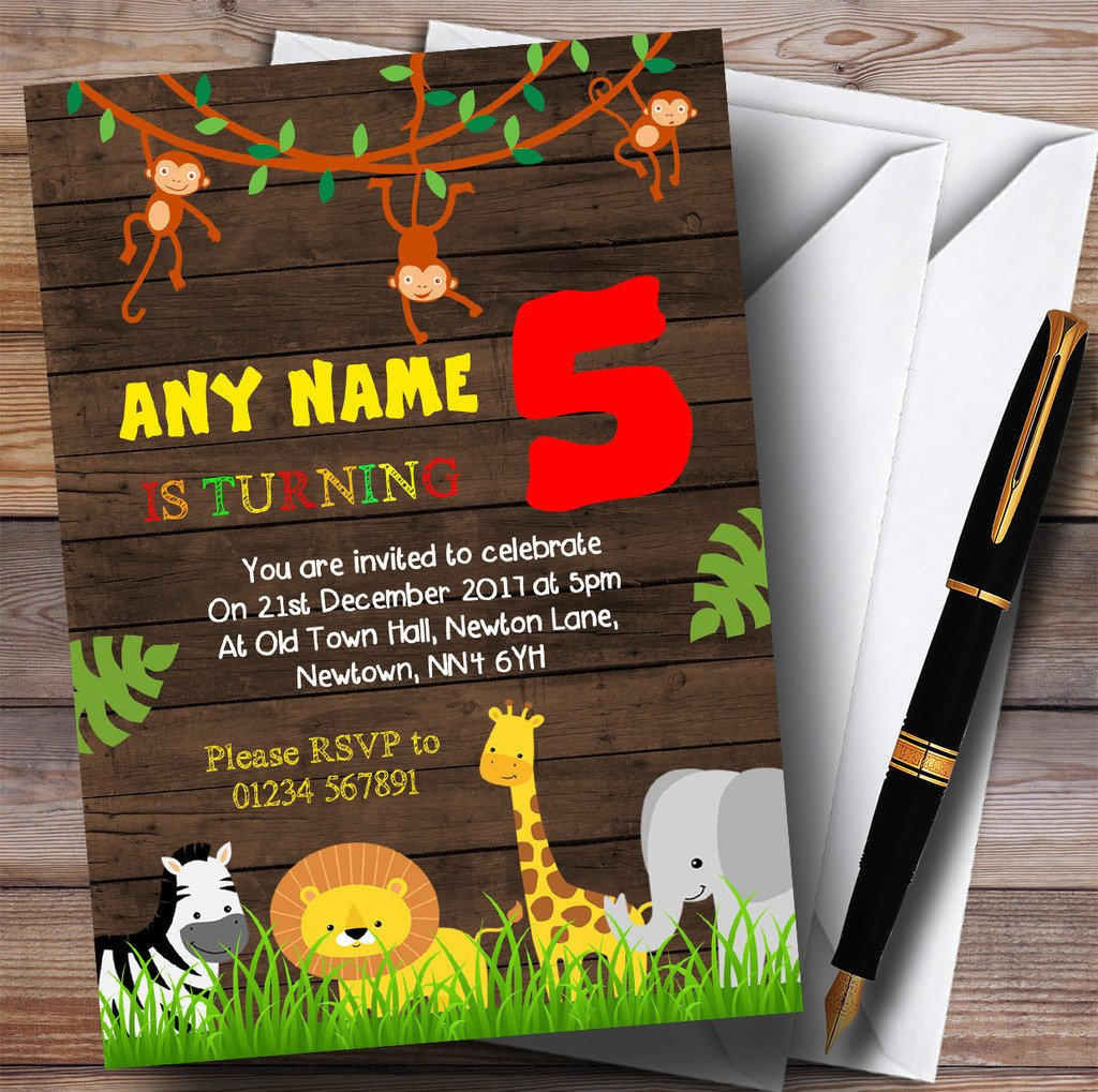 Any Age Wood Jungle Animals Childrens Birthday Party Invitations by The Card Zoo (Image #1)