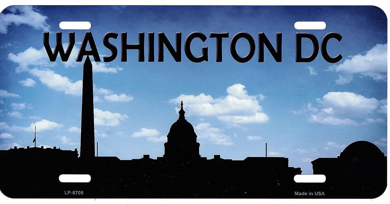 Washington DC Skyline Silhouette Metal License Plate Smart Blonde