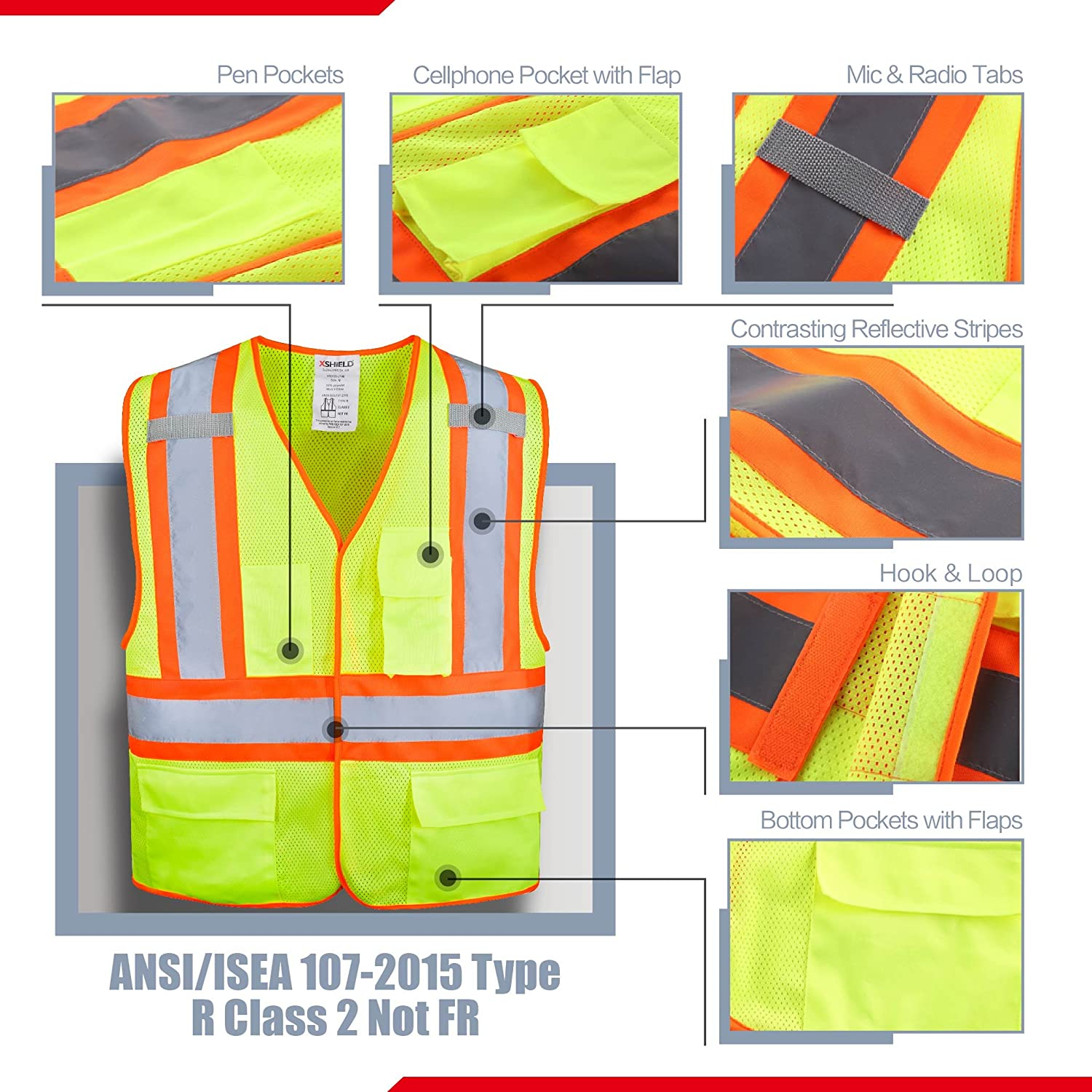 HMC XSHIELD XS0100,High Visibility Safety Vest with Silver Stripe,ANSI//ISEA 107-2015 Type R Class2 Not FR,Pack of 5 M, Yellow