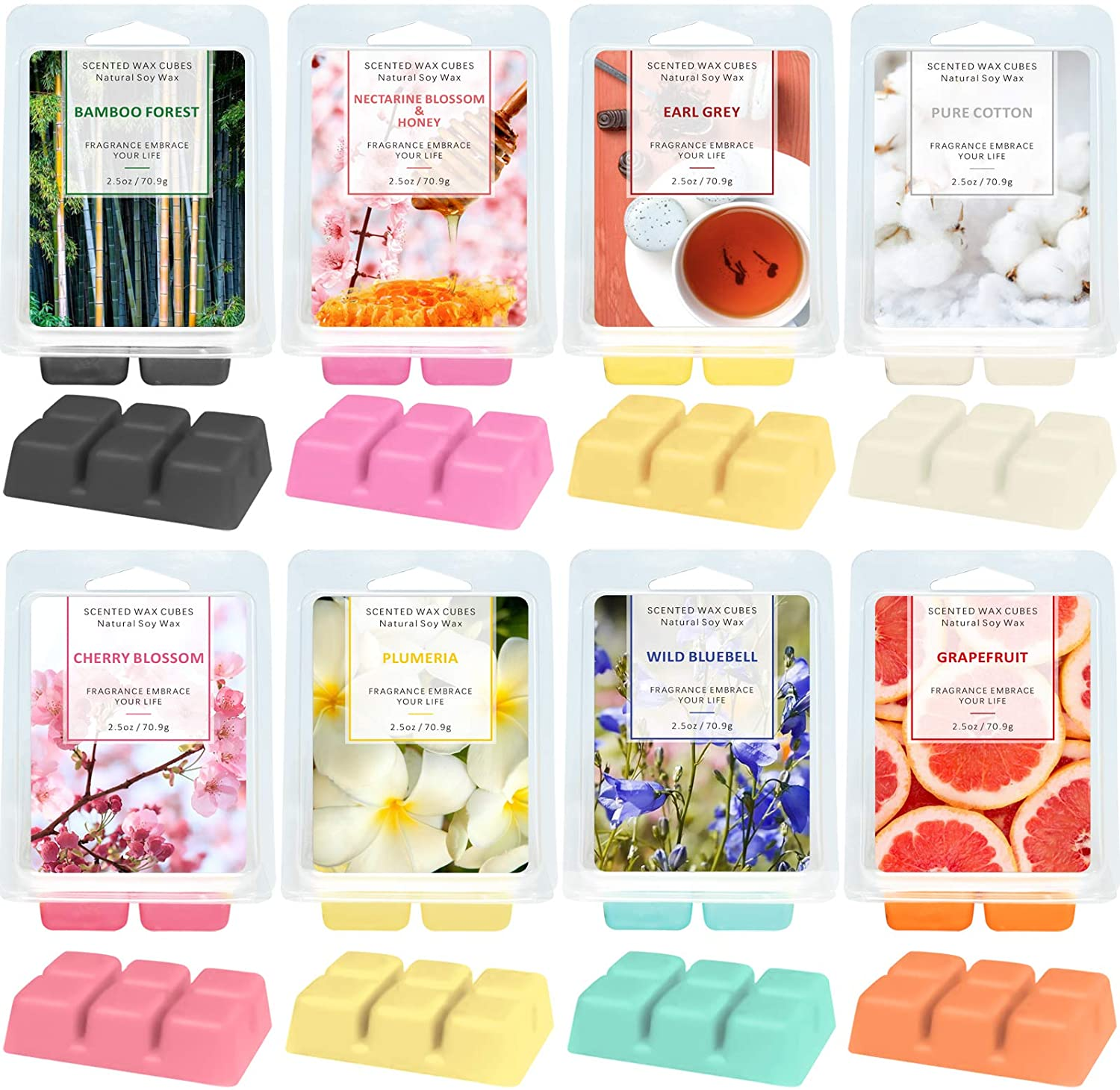 LA BELLEFÉE Scented Wax Melts,Cube Wax Melts,Floral Wax Melts,Candle Wax Warmer Melts,Wax Cubes for Home, Scented Natural Soy Wax Cube,8X 2.5 oz