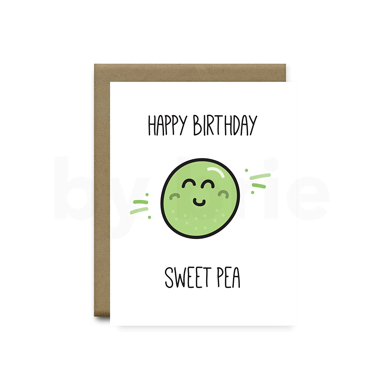 Happy Birthday Sweet Pea Greeting Card Funny Boyfriend Girlfriend Cards Handmade