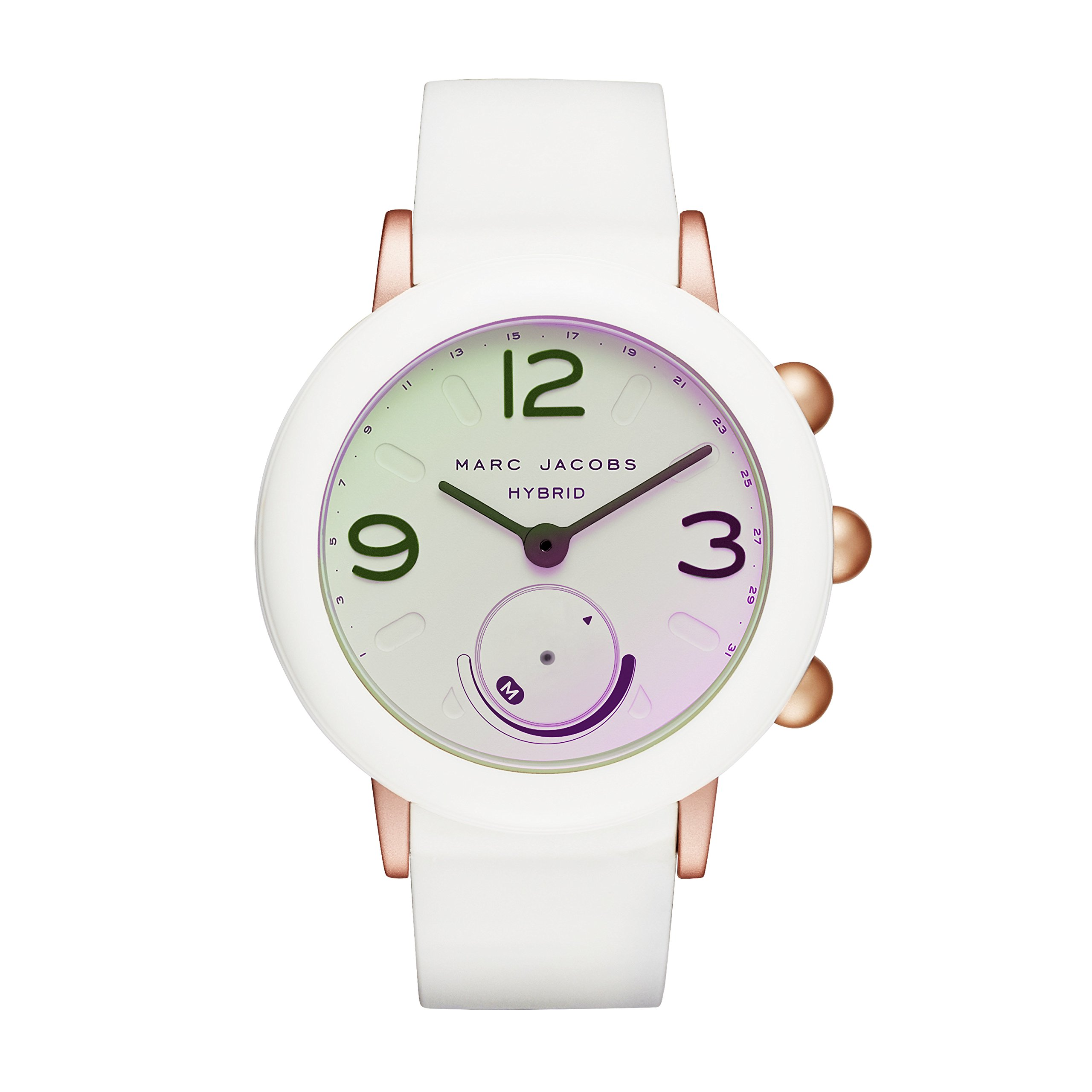 Marc Jacobs Women's Riley Aluminum and Rubber Hybrid Smartwatch, Color: Rose Gold-Tone, White (Model: MJT1000)