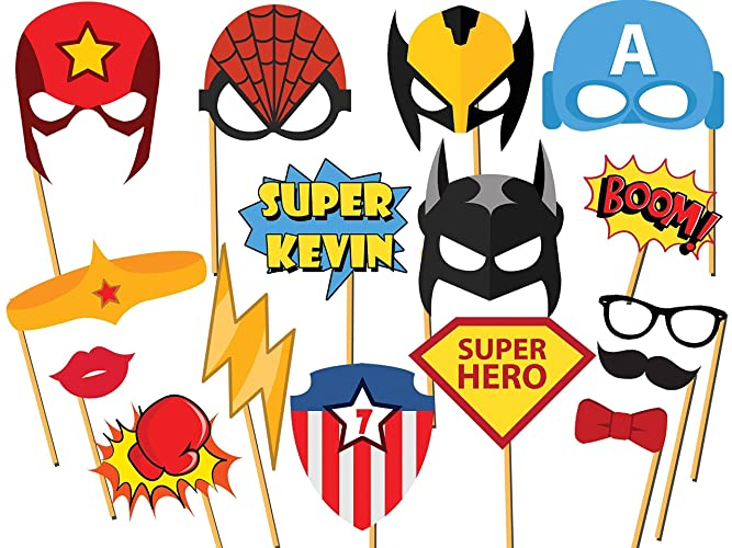 custom superhero photo booth props size 36x24 personalized superhero party comic book