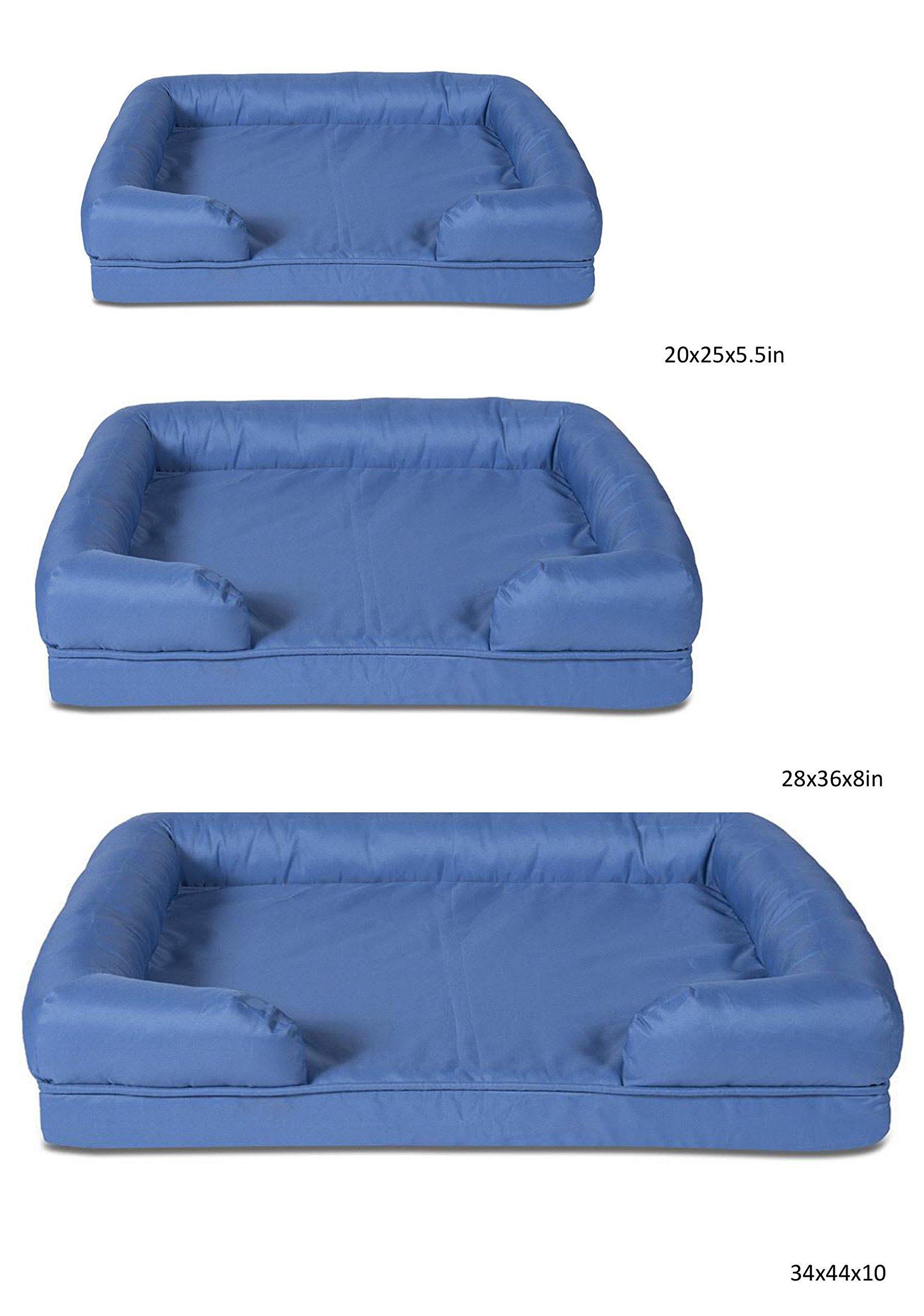 Sleepi Premium Water Resistant Memory Foam Bolster Pet Bed, 28'' x 36'' x 8'', Potting Soil
