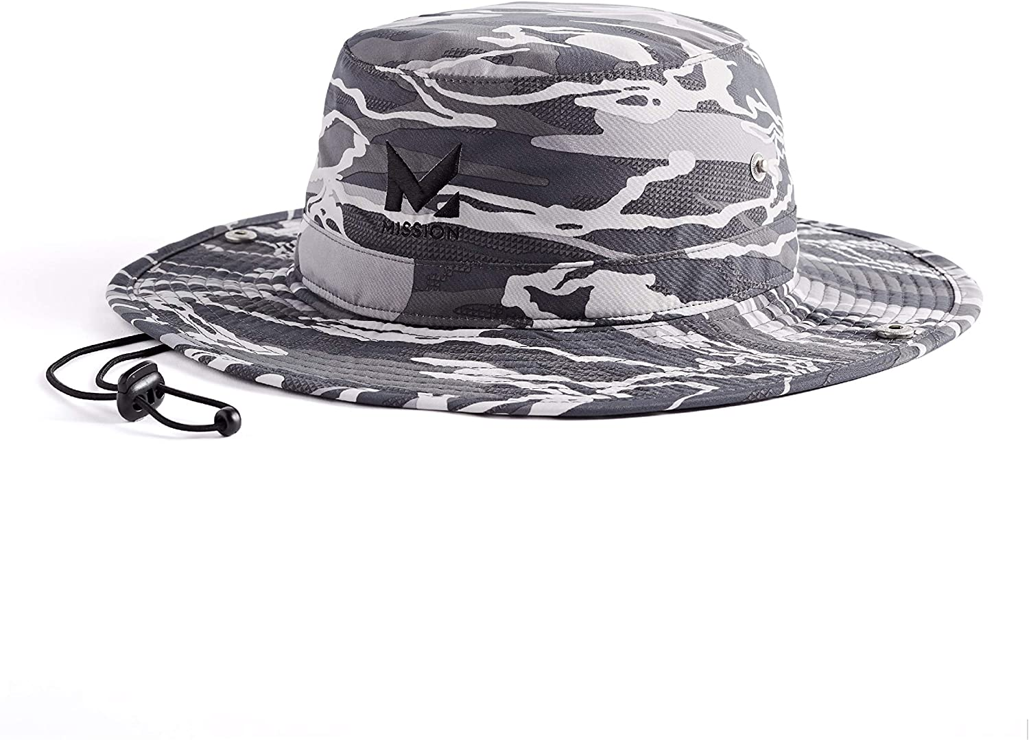 "MISSION Cooling Bucket Hat- UPF 50, 3"" Wide Brim, Cools When Wet- Matrix Camo Silver"