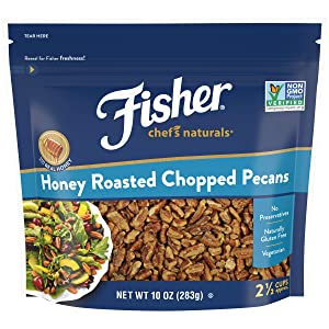 Fisher Chef's Naturals Honey Roasted Chopped Pecans, 10 oz, Naturally Gluten Free, No Preservatives, Non-GMO