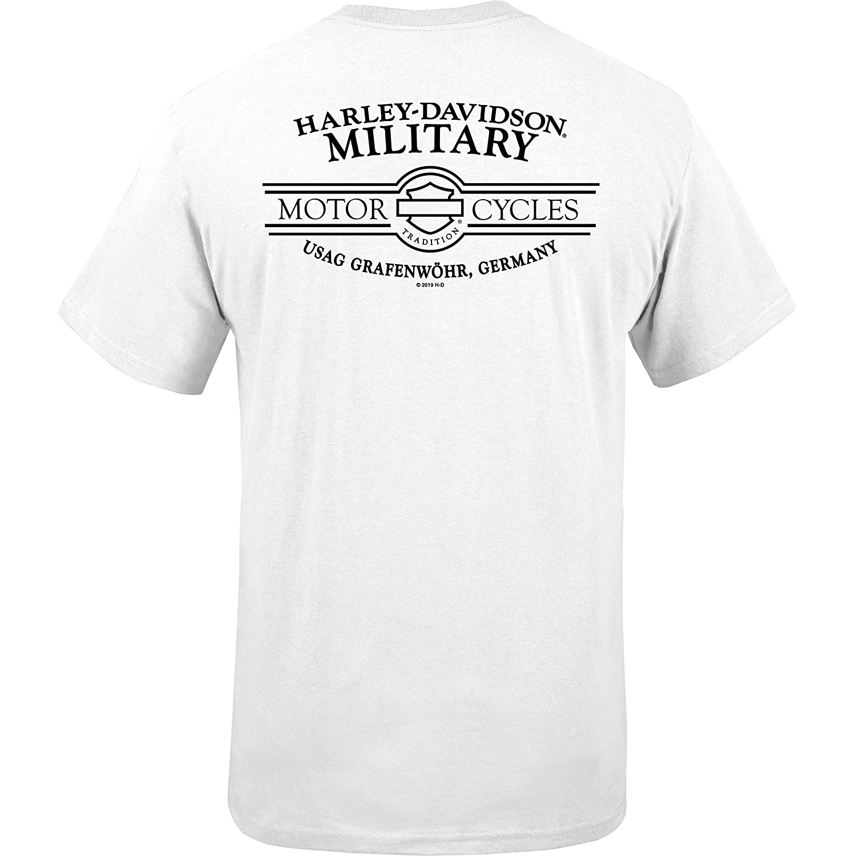 Made in USA Harley-Davidson Military USAG Grafenwohr Mens White Patriotic Graphic Tee G Star