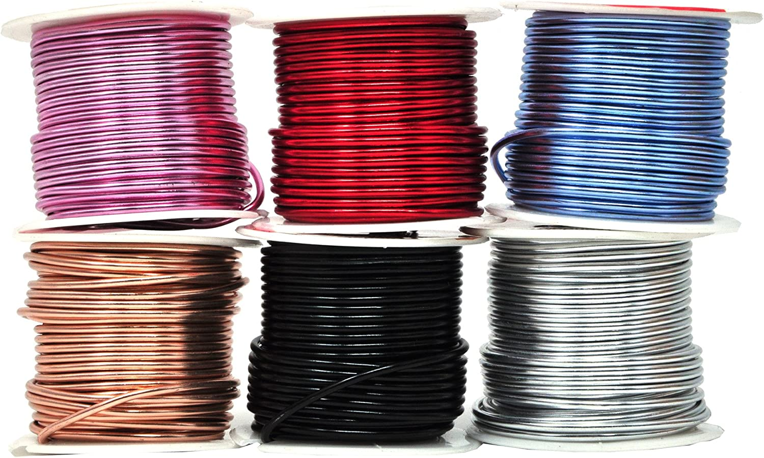 Mandala Crafts Anodized Aluminum Wire for Sculpting, Armature, Jewelry Making, Gem Metal Wrap, Garden, Colored and Soft, Assorted 6 Rolls (12 Gauge, Combo 8)