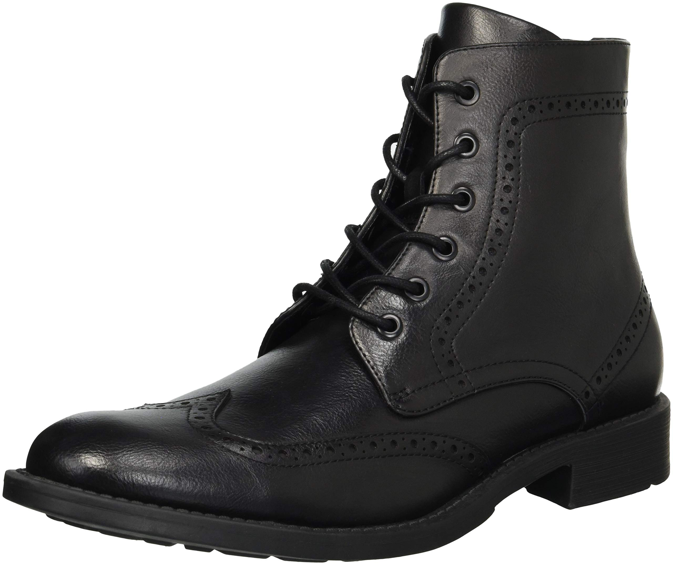 Unlisted by Kenneth Cole Men's Blind-Sided Oxford Boot, Black Burnished, 12 M US