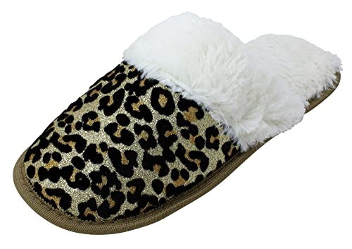 48007dcd412b4 Enimay Women's Girls Fuzzy Slippers Indoor House Shoes Warm Fluffy Soft  Furry Leopard 7