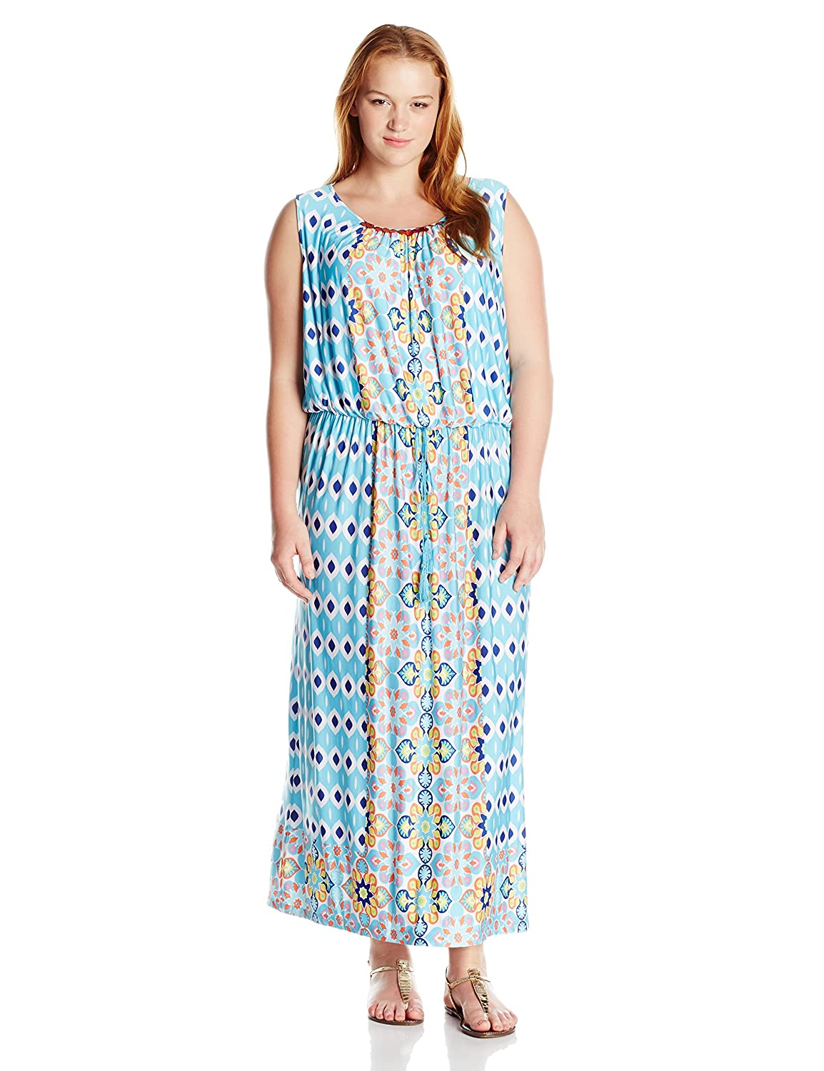 Ruby Rd Womens Petite Printed Maxi Dress with Embellished Boat-Neck