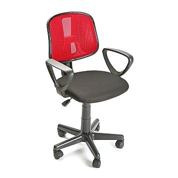 Versa 18400060 Silla Oficina Roja Gante, 93,5x48x42,5cm, Poliéster y ABS,Oficina