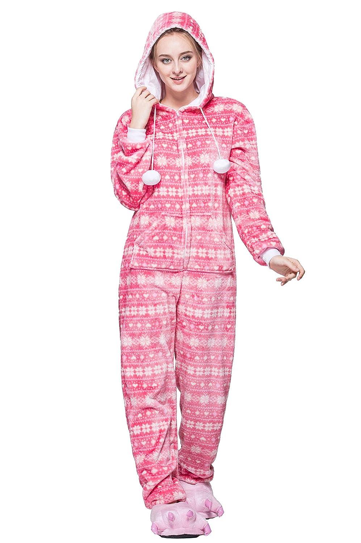 Honeystore Loungewear Women's Cozy Flannel Sleepwear Onesie Pajama HSY1606FO