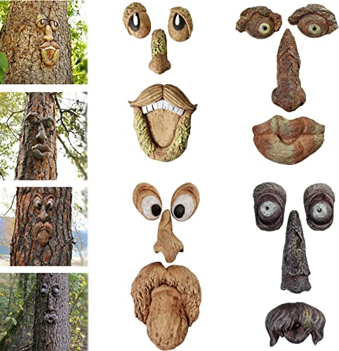 snow keychain Old Man Tree Face Decor Outdoor,Bark Ghost Facial Features Ornaments Tree Hugger,Easter Old Man Tree Hugger Tree Face Decor,Funny Easter Creative Props Yard Art Decoration
