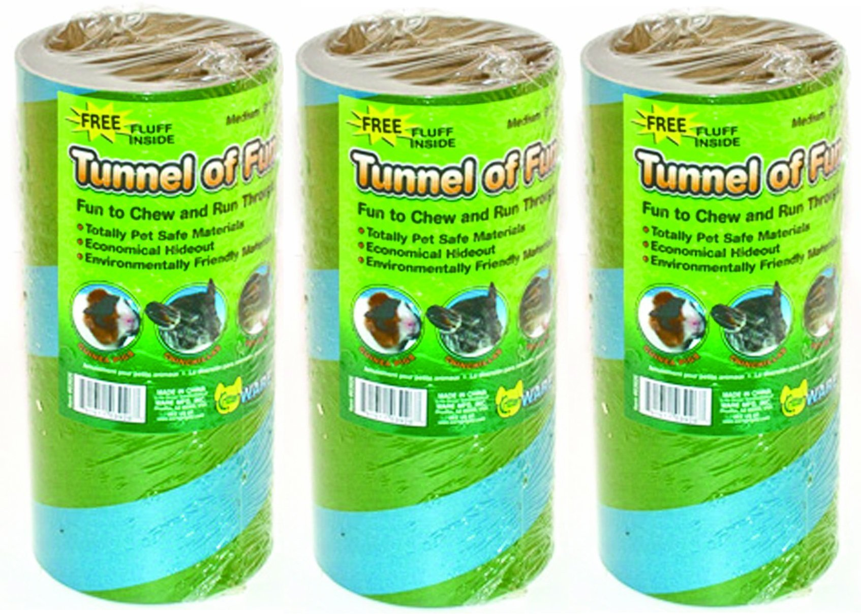 (3 Pack) Ware Manufacturing Tunnels of Fun Small Pet Hideaway, Medium