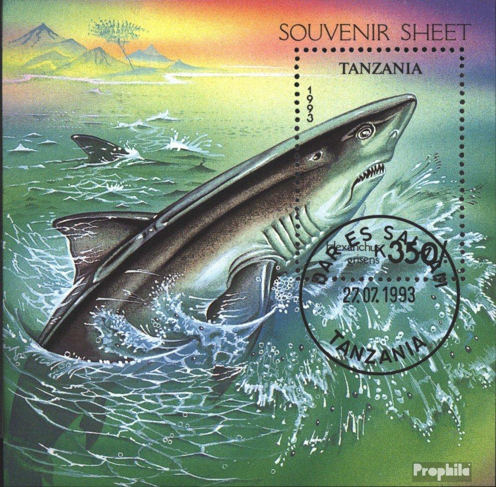 Prophila Collection Tansania Block225 Wassertiere Briefmarken f/ür Sammler kompl.Ausg. 1993 Haie