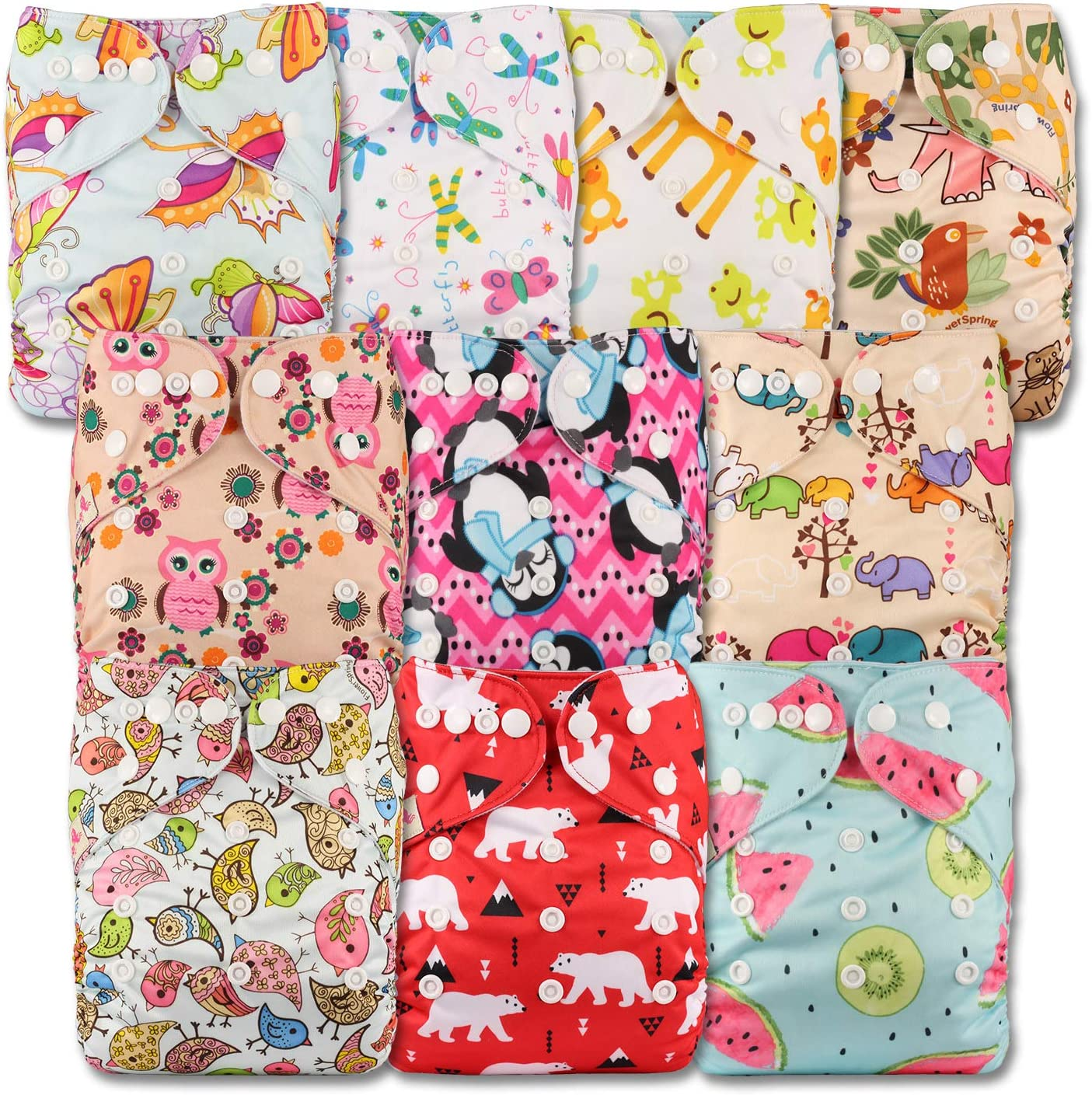 Patterns 1004 with 10 Microfibre Inserts Fastener: Popper Set of 10 Littles /& Bloomz Reusable Pocket Cloth Nappy