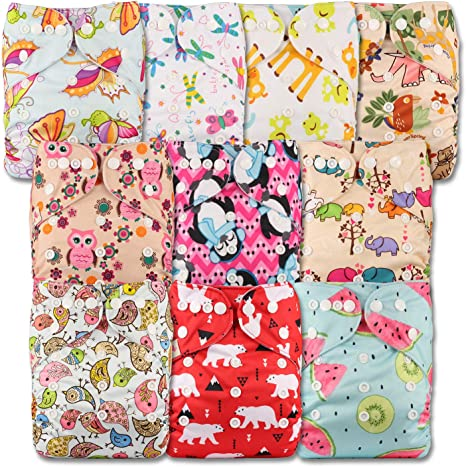 Littles /& Bloomz Reusable Pocket Cloth Nappy with 24 Microfibre Inserts Fastener: Popper Set of 12 Patterns 1201