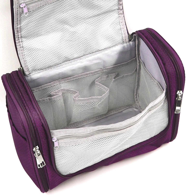 Extra Large Capacity Hanging Toiletry Bag for Men & Women, Portable Waterproof Bathroom Shower Bag, Lightweight Dopp kit Shaving Bag, Sturdy Metal Hook Organizer Makeup Bag (Purple): Clothing