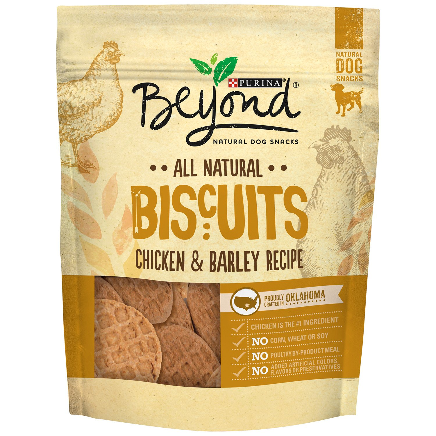 Purina Beyond Natural Dog Snack, Biscuits, Chicken & Barley Recipe, 25-Ounce Pouch, Pack of 1