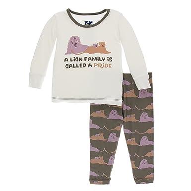 95d9da2fc Amazon.com: KicKee Pants Print Short Sleeve Pajama Set in Feather ...