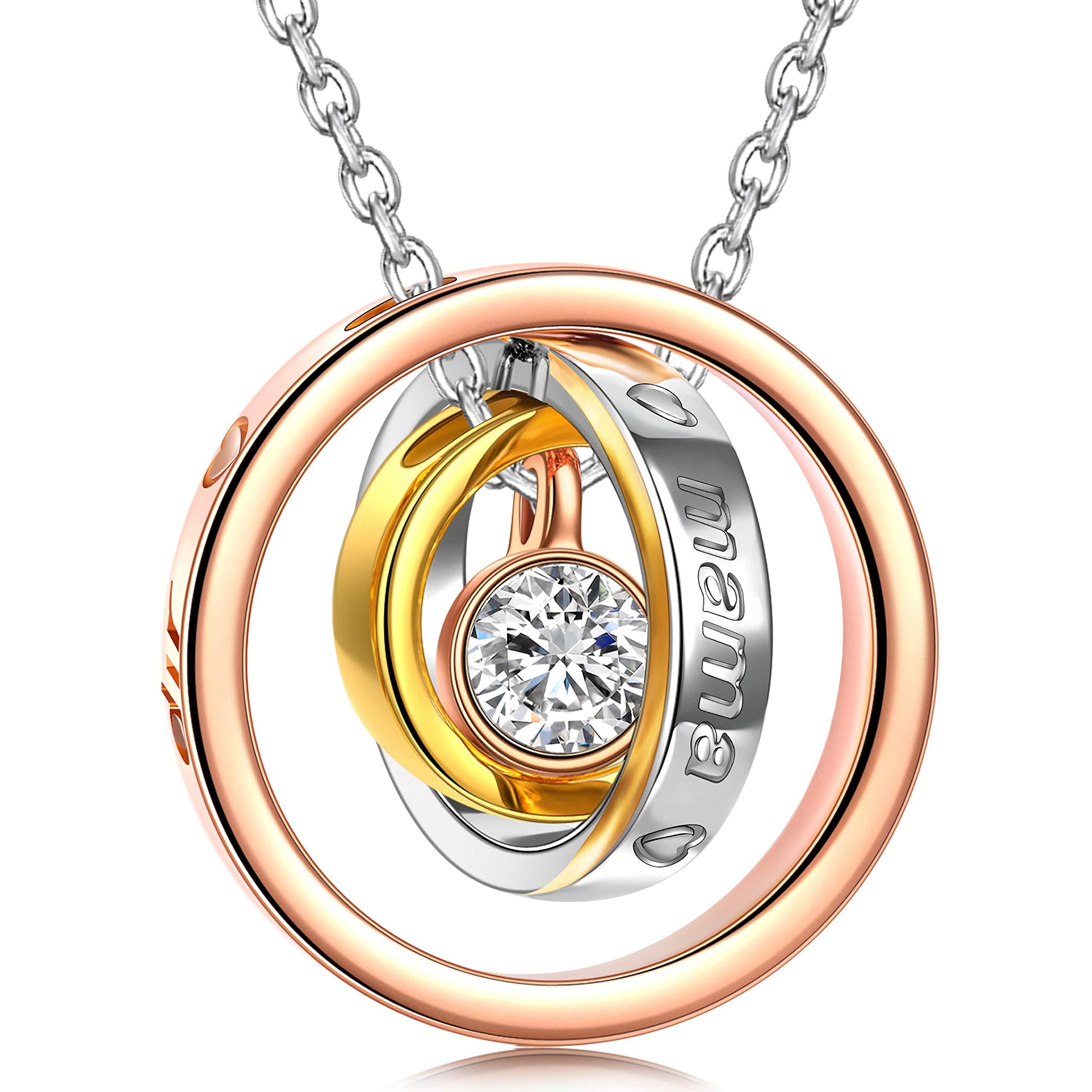 Kami Idea Halskette - EWIG - Rosegold Anhänger, Geschenk für Mama und Liebe, Kristall von Swarovski, Elegante Geschenkverpackung, 45CM Kettenlänge, Geschenk für Damen Bild