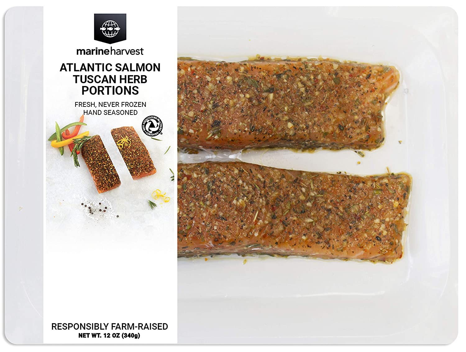 Marine Harvest Fresh Seasoned Tuscan Herb Atlantic Salmon Portions, 12 Oz