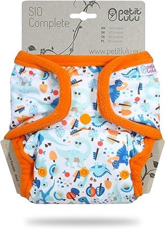 Petit Lulu AI2 Stoffwindel One Size Blau Short Insert Druckkn/öpfe Baby SIO Komplettwindel Hergestellt in EU 4-15 kg