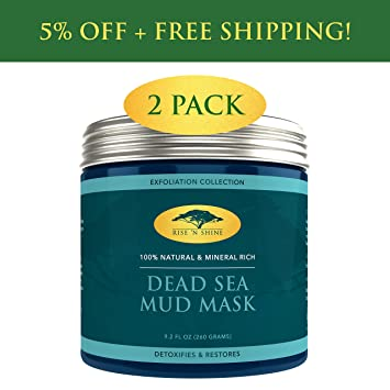 77cd88502a Amazon.com   (2 Pack) Dead Sea Mud Mask for Face Facial - 100 ...