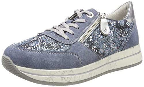 Remonte D2501, Zapatos de Cordones Oxford para Mujer, Azul (Adria/Adria/Argento), 36 EU