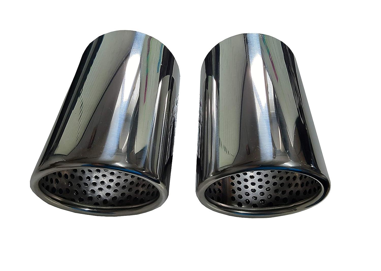2 CARTUNER/® Auspuffblenden 5er E60 E61 Auspuffblende Edelstahl Endrohrblenden Endrohrblende Auspuff Blende Endrohre 76mm